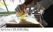 Mid section of african american man wearing gloves grating cheese in the food truck. Стоковое видео, агентство Wavebreak Media / Фотобанк Лори