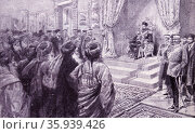 Painting depicting the Amir of Afghanistan receiving an Afridi deputation at Kabul. Редакционное фото, агентство World History Archive / Фотобанк Лори