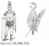 Engraving depicting a Roman General and a Roman Arms and Ensign. Редакционное фото, агентство World History Archive / Фотобанк Лори