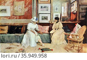 Painting titled 'A Friendly Call' by William Merritt Chase. Редакционное фото, агентство World History Archive / Фотобанк Лори
