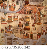 A detailed medieval map of the world as it was known. Редакционное фото, агентство World History Archive / Фотобанк Лори