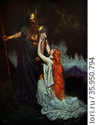 Painting depicting a scene from the music drama, Die Walküre by Richard Wagner. Редакционное фото, агентство World History Archive / Фотобанк Лори