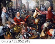 Detail from the painting titled 'The Four Elements: Earth' by Joachim Beuckelaer. Редакционное фото, агентство World History Archive / Фотобанк Лори