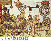 Woodblock print depicting Queen Elizabeth I riding in the Chariot of Fame. Редакционное фото, агентство World History Archive / Фотобанк Лори