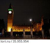 View of Big Ben at night. Редакционное фото, агентство World History Archive / Фотобанк Лори