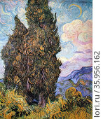 Painting titled 'The Cypress Tree' by Vincent van Gogh. Редакционное фото, агентство World History Archive / Фотобанк Лори