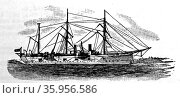 Engraving of the United States cruiser 'Chicago' with Yards Acockbill (2016 год). Редакционное фото, агентство World History Archive / Фотобанк Лори