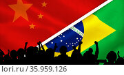 Composition of silhouette of sports fans and chinese and brazilian flags. Стоковое фото, агентство Wavebreak Media / Фотобанк Лори