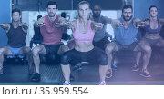 Composition of fit men and women squatting in gym. Стоковое фото, агентство Wavebreak Media / Фотобанк Лори