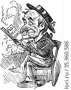 Cartoon of Mr Punch reading the P&O Pocket Book whilst smoking a cigar (2016 год). Редакционное фото, агентство World History Archive / Фотобанк Лори