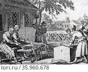 Scutching flax. Engraving after Daniel Nicolas Chodowiecki. Редакционное фото, агентство World History Archive / Фотобанк Лори