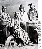 Native Indians from Chile. Photograph 1885. Редакционное фото, агентство World History Archive / Фотобанк Лори