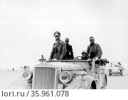 Photograph of Erwin Rommel and the German 15th Panzer Division 1941. Редакционное фото, агентство World History Archive / Фотобанк Лори