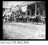 Photographic print of the California Co.'s stage coaches leaving the International Hotel, Virginia City, for California via Donner Lake. Редакционное фото, агентство World History Archive / Фотобанк Лори