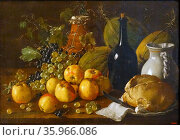 Painting titled 'Still life with Apples, Grapes, Melons, Bread, Jug and Bottle by Luis Egidio Meléndez. Редакционное фото, агентство World History Archive / Фотобанк Лори