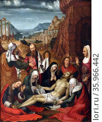 Painting depicting the mourning over the dead Jesus Christ by Paolo da San Leocadio. Редакционное фото, агентство World History Archive / Фотобанк Лори