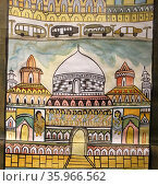 Detail from a brightly coloured marouflage depicting the Kolkata Metro by Madhu Chitrakar. Редакционное фото, агентство World History Archive / Фотобанк Лори