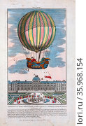 Jacques Alexandre César Charles and Marie-Noël Robert riding in the gondola of a balloon ascending from the Tuileries Garden, Paris, France, December 1, 1783 in the first hydrogen balloon flight. Редакционное фото, агентство World History Archive / Фотобанк Лори