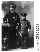Photograph of Prince Ito Hirobumi of Japan and Crown Prince Yi Un of Korea. Редакционное фото, агентство World History Archive / Фотобанк Лори