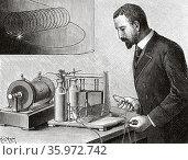 Electrophysiological experiments by Jacques-Arsène d'Arsonval (1851... Стоковое фото, фотограф Jerónimo Alba / age Fotostock / Фотобанк Лори