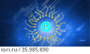 Composition of blue padlock icon with yellow circuits on blue background with reflective rectangles. Стоковое фото, агентство Wavebreak Media / Фотобанк Лори
