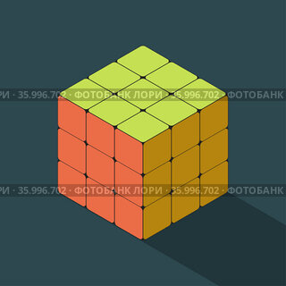 Solved coloed rubiks cube in isometric view