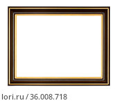 Empty black and gold wooden picture frame with cut out canvas isolated... Стоковое фото, фотограф Zoonar.com/Valery Voennyy / easy Fotostock / Фотобанк Лори