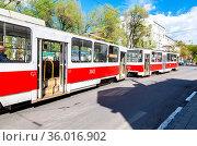 Samara, Russia - May 14, 2018: Russian public transport. Tram runs... Стоковое фото, фотограф Zoonar.com/Alexander Blinov / easy Fotostock / Фотобанк Лори