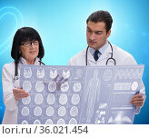 Two doctors discussing x-ray image in telemedicine concept. Стоковое фото, фотограф Elnur / Фотобанк Лори