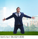 Businessman excited with new business opportunity. Стоковое фото, фотограф Elnur / Фотобанк Лори