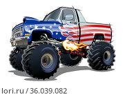 Cartoon Monster Truck isolated on white background. Стоковая иллюстрация, иллюстратор Александр Володин / Фотобанк Лори
