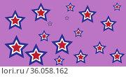 Digitally generated image of multicolor stars against purple background. Стоковое фото, агентство Wavebreak Media / Фотобанк Лори