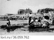 The treport, the beach and the casino, postcard 1900. (2009 год). Редакционное фото, фотограф Louis Bertrand / age Fotostock / Фотобанк Лори