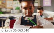 Portrait of african american schoolgirl sitting in class, making notes, looking at camera. Стоковое видео, агентство Wavebreak Media / Фотобанк Лори