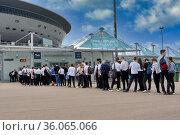Pass for volunteers to Zenit Stadium during Euro 2020 championship Petersburg. Редакционное фото, фотограф Андрей Зарин / Фотобанк Лори