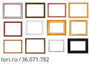 Collection of various empty wooden picture frames with cut out canvas... Стоковое фото, фотограф Zoonar.com/Valery Voennyy / easy Fotostock / Фотобанк Лори
