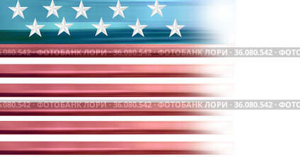 Composition of white stars on blue and red and white stripes of american flag fading to the right