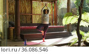 African american woman practicing yoga and meditating at vacation home. Стоковое видео, агентство Wavebreak Media / Фотобанк Лори