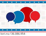 Composition of red and blue speech bubbles with american flags in background. Стоковое фото, агентство Wavebreak Media / Фотобанк Лори