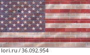 Composition of american flag over brick wall. Стоковое фото, агентство Wavebreak Media / Фотобанк Лори