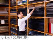 Modern Chinese salesgirl working in fabric store. Стоковое фото, фотограф Яков Филимонов / Фотобанк Лори