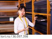 Competent young saleswoman offering various interesting cloth in textile shop. Стоковое фото, фотограф Яков Филимонов / Фотобанк Лори