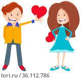 Greeting card cartoon illustration with girl and boy characters with... Стоковое фото, фотограф Zoonar.com/Igor Zakowski / easy Fotostock / Фотобанк Лори