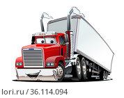 Cartoon cargo semi truck isolated on white background. Стоковая иллюстрация, иллюстратор Александр Володин / Фотобанк Лори