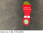 """Berlin, Germany, Sticker: S-Bahn replacement traffic sticks on the ground for orientation purposes"" Редакционное фото, агентство Caro Photoagency / Фотобанк Лори"
