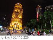 Night street view of Kuala Lumpur downtown (2019 год). Редакционное фото, фотограф EugeneSergeev / Фотобанк Лори