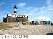 Salvador de Bahia, Forte de Santa Maria and Farol de Barra. Brazil. Стоковое фото, фотограф J M Barres / age Fotostock / Фотобанк Лори