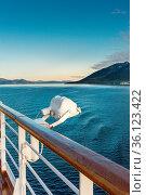 White metal marine exterior light fixture on railing of cruise ship... Стоковое фото, фотограф Zoonar.com/Suzanne Goodwin / easy Fotostock / Фотобанк Лори