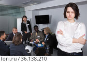 Portrait of upset woman in boardroom. Стоковое фото, фотограф Яков Филимонов / Фотобанк Лори