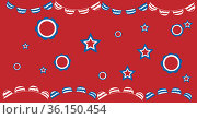 Composition of stars and stripe patterns and pennants of american flags, on red. Стоковое фото, агентство Wavebreak Media / Фотобанк Лори